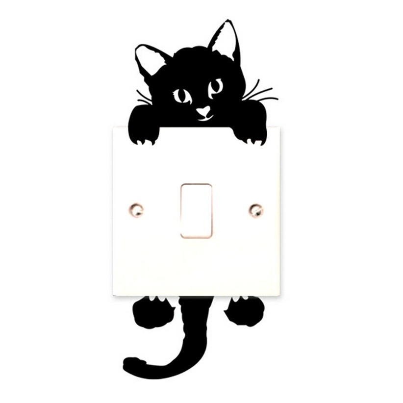 Newly Design Black Cat Switch Stickers Funny Kitty Wall Sticker Home Decor Decals Art Mural Baby