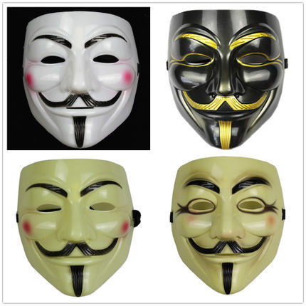 Party Masks V Vendetta Anonymous Guy Fawkes Mask Halloween Cosplay - COLORFUL--- LIFE store