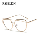 RSSELDN Newest optical glasses frame women Cat Eye eyeglasses large Metal optical frame clear glasses Men