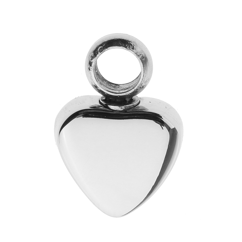 Both Side Glossy Love Heart Stainless Steel Keepsake DIY Engraved Pendant Urn Ash Holder Memorial Charms