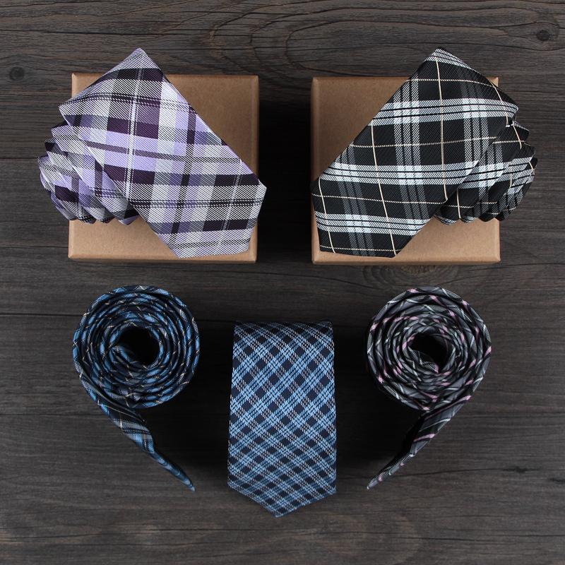 2015 Fashion elegant casual style woven business plaid necktie, navy blue checkered 6cm narrow skinny , silk slim tie for men(China (Mainland))