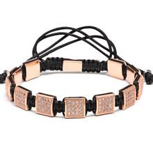 Mcilroy Zirconia bransoletki europejska amerykańska bransoletki męskie, znane marki bransoletki, utorować ustawienie biały CZ koraliki Macrame bransoletki(China)