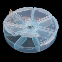 Portable Organizer Pill Round Box 7 Slot Health Pill Box Case Medicine Drug ES88