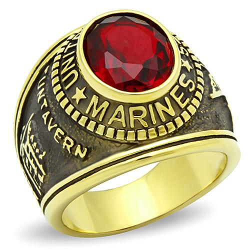 men rings Stainless Steel Unisex fine jewelry ip gold plated red stone New Products - Flowers rong's store
