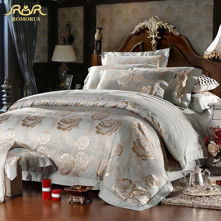 ROMORUS Luxury Bedding Collections Satin Jacquard Duvet Cover Bed Set King Queen Size 100% Cotton Bed in a Bag Bright Bed Linen(China (Mainland))