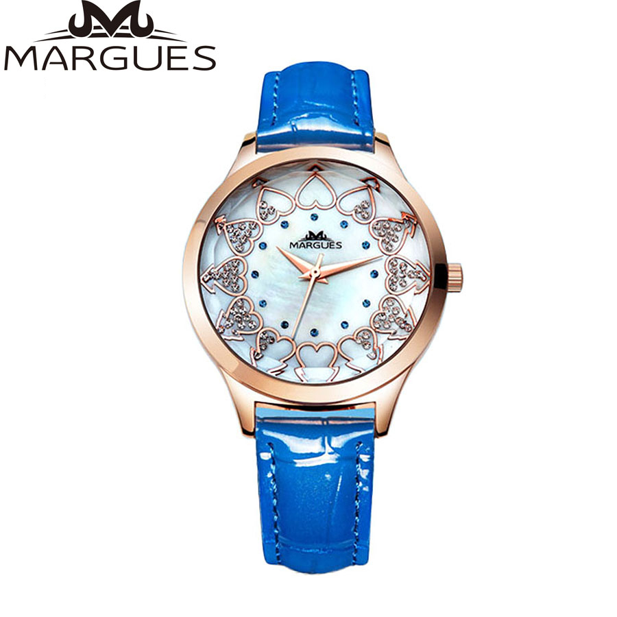 2016margues new waterproof leather watch women fashion
