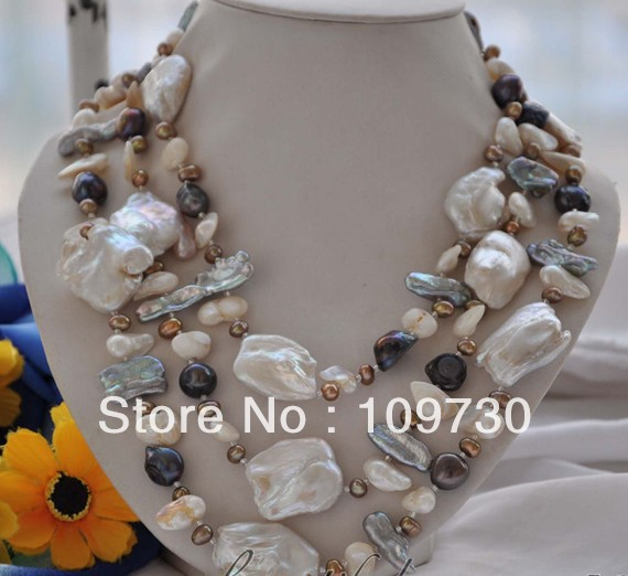 Jewelry 0012475 3strands 40mm white keshi reborn black coffee freshwater pearl necklace<br><br>Aliexpress