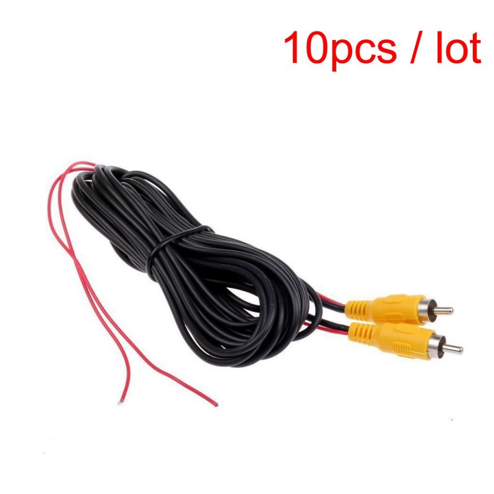 10 Pcs Car RCA Reverse Rear View Parking Camera Video Extension Cable + Detection Wire Reverse Red Trigger Lead (10 Meters/32FT)(China (Mainland))