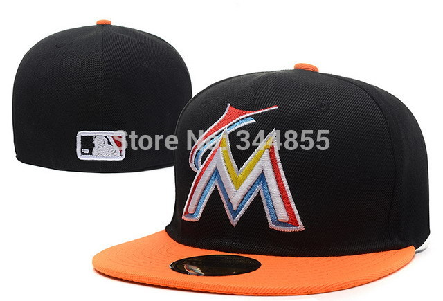 Classic Florida Marlins M Letter Logo Baseball Fitted Hats Men's,Sport Hip Hop Closed Caps Women's,Fashion Cotton Casual Hats(China (Mainland))