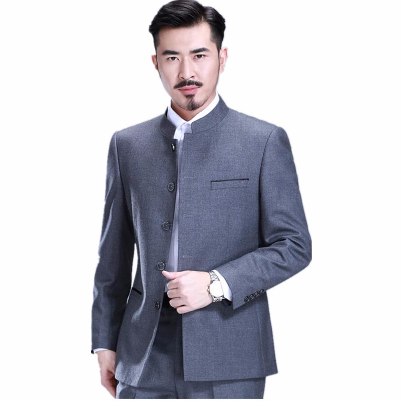 51.1 Men\`s suit collar Chinese tunic suit professional martial arts tai chi formal occasions two-piece single-breasted suit