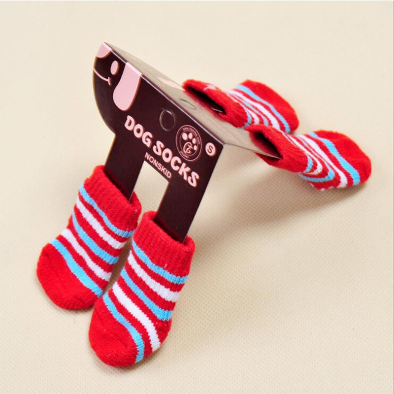 4 Pcs New Dog Socks Multicolor for Pet Winter Warm Fashion Suitable Small and Medium Dogs Skid pour chien cachorro perro(China (Mainland))
