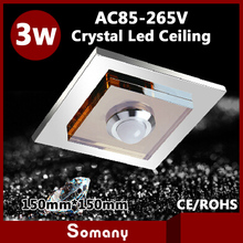 3pcs Modern Crystal Ceiling 15cm*15cm Kitchen Recessed/ Mounted Led Downlight 3W Stainless Steel Suqare Led Ceiling Spot Light(China (Mainland))