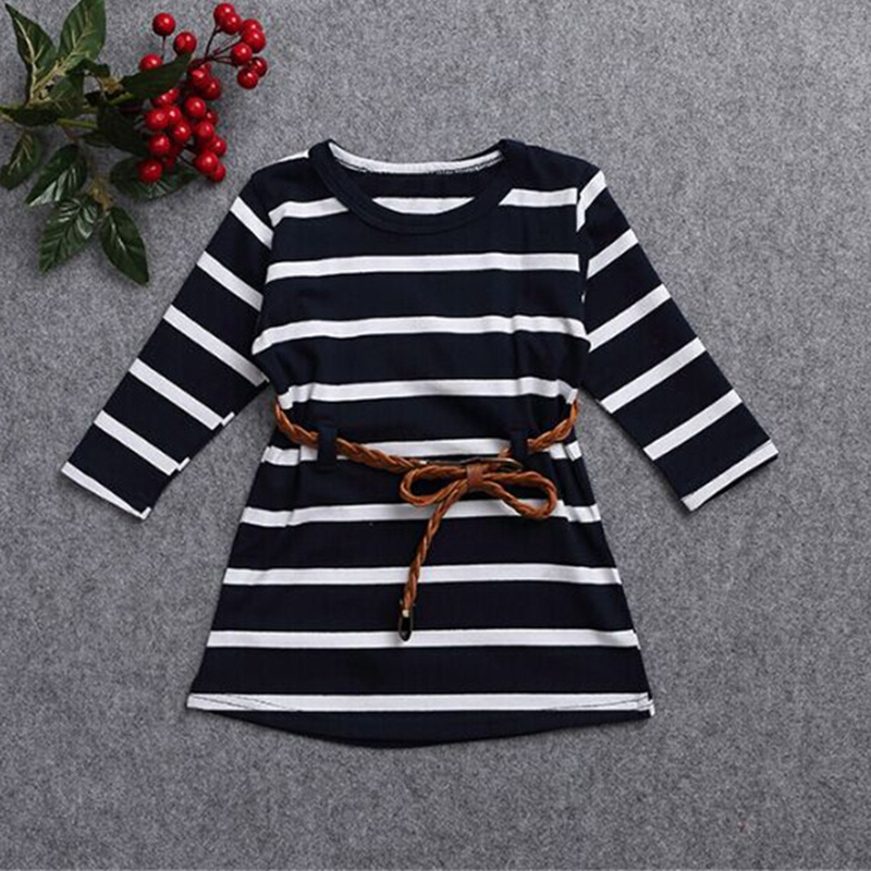 New 2016 Princess Girl Dress Stripe Kids Dresses For Girls Baby Children Clothing Casual Cotton Sashes Girls Clothes CC006-CGR3(China (Mainland))