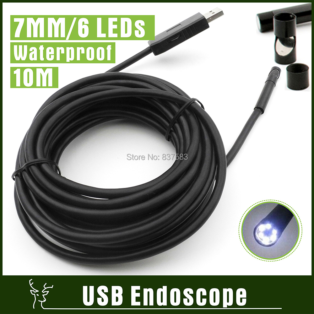 10M Cable 6 LEDs USB Borescope Endoscope Camera Video Snake Pipe Inspection Camera with 7mm LENs Waterproof USB Camera Endoscope(China (Mainland))
