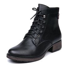 AIMEIGAO Yuvarlak Ayak yarım çizmeler Kadınlar Için Dantel up Siyah Renk Kadın Botları Sıcak Kürk Peluş Astarı Klasik Stil Kadın Ayakkabı(China)