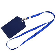 Wholesale Blue Faux Leather Badge ID Card Vertical Holders Neck Strap 2 Pcs(China (Mainland))