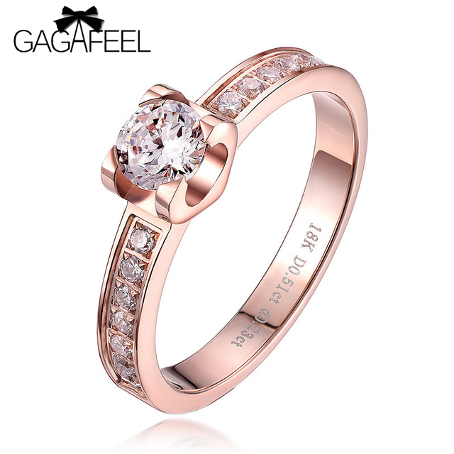 High Quality Women Wedding Ring Christmas Passion Romantic Honey  Rose Gold Plated Jewelry Finger Ring Female Zircon Ring