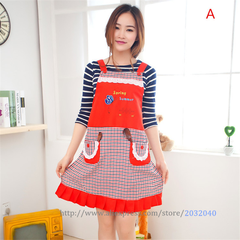 Adjustable Sleeveless Embroidery Lovely Cute Aprons for Women Waiter Apron With Pocket Overalls Smock Kitchen Accessories Tools(China (Mainland))
