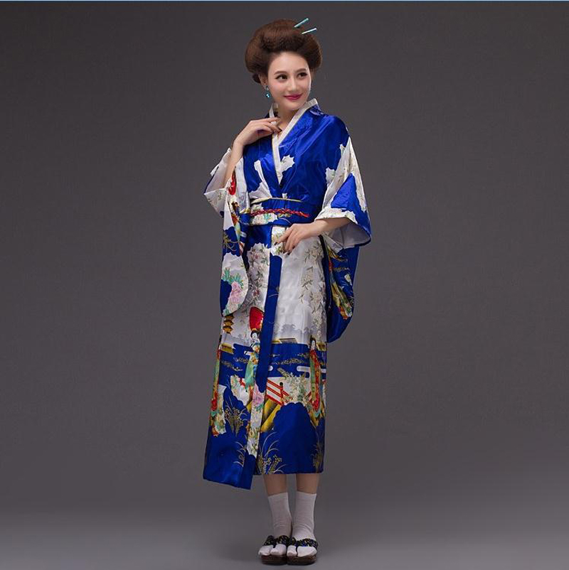 Royal Blue Japanese Traditional Woman Silk Kimono Yukata With Obi Evening Dress Performance Dance Dress One Size WK066(China (Mainland))