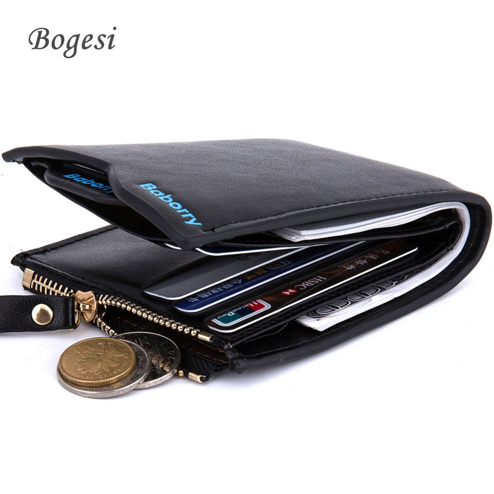Hot Purses Men's Wallet Solid Color Zipper Leather pPigskin Short Wallet Multi-function Large-capacity Quality Folding Wallets(China (Mainland))