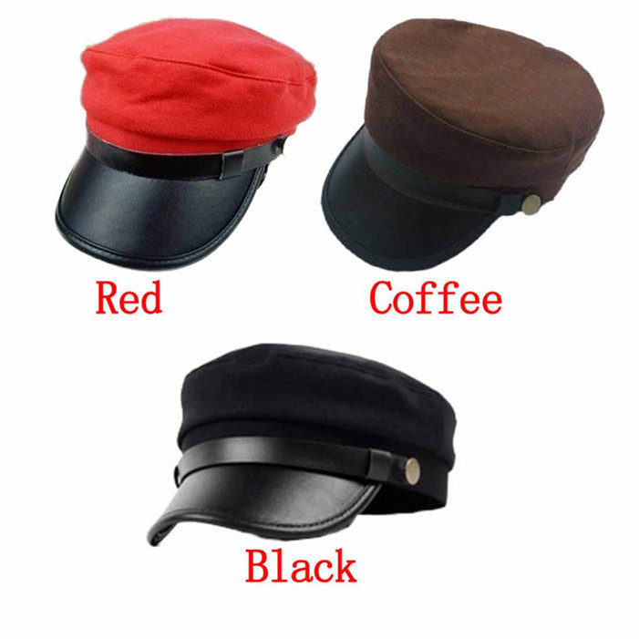 Stylish Fashion Leather Buckle Unisex Army Military Cap Flat -Top Hat Student Hat