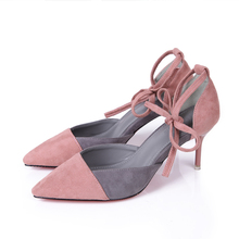 2017 Spring Fashion High Heels Shoes Women Pointed Toe Shallow Mouth Ankle Strap Pumps Pink Green Blue Color Cow Suede Shoes(China (Mainland))
