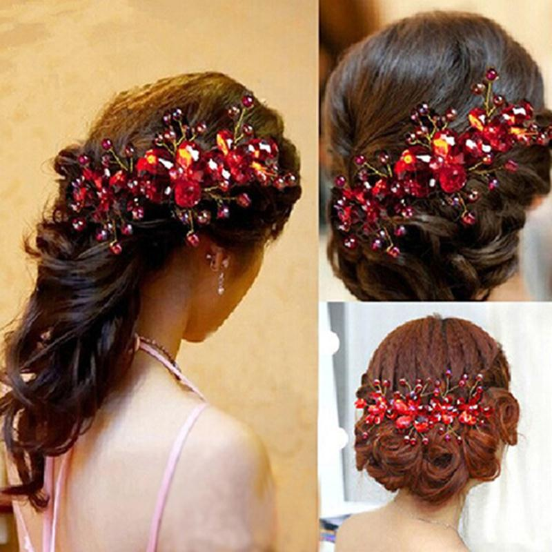 New Design Chinese Red Flower Wedding Bridal Hair Jewelry Party Handmade Hair Pin Hair