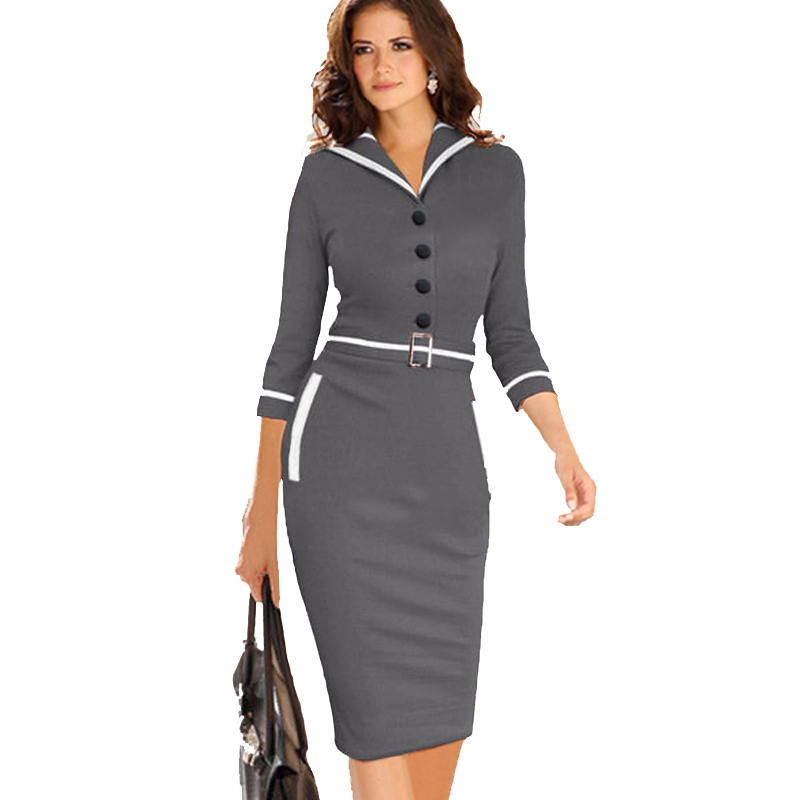 Awesome Feminine Texture Tailoring Dress Grey  Office Dress  Buy