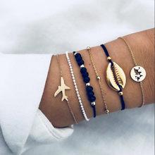5 pièces/ensemble mode Punk or chaîne lune feuille cristal géométrie ouvert Bracelet ensemble femmes charme plage bijoux une vente directe(China)