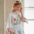 LYNETTE S CHINOISERIE Spring Summer Original Design Women Mexico Embroidery Rustic Vintage Cotton White Shirt