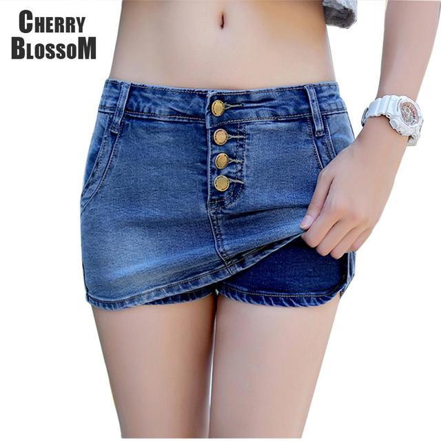 4 пуговицы джинсовые брюки-шорты женские летние стиль шорты юбка горячие джинсовые ...