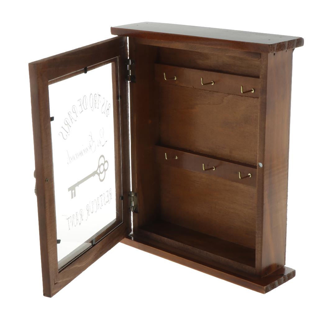 Pastoral Style Key Cabinet Wooden Key Holder Box Decorative Key Rack with 6 Hooks(Double Tier), 21x6x25cm.
