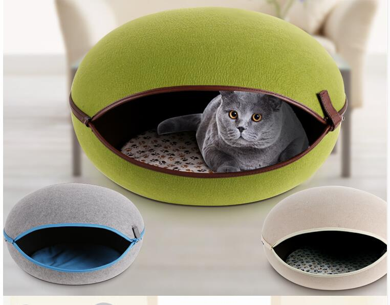 Newest 2015 Pet Home Supplies Egg-shaped Small Cat Bed House Lovely Puppy Dog Nest Kennel With Removable Cap(China (Mainland))