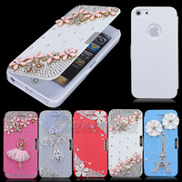 5X Hot Sale New Stylish Luxury 3D Gold Flower Cross Diamond Flip Style Leather Hard Case Cover For iPhone 5 5S SE Free Shipping
