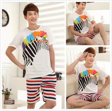 Pijama Verano Hombre Summer Women Men Pyjama Set 2 Pcs Zebra Tshirt And Stripes Shorts Causal Tracksuit Cotton Sleeping Clothing(China (Mainland))