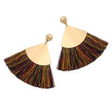 CWEEL Gelb Quaste Ohrringe Für Frauen Boho Böhmischen Gold Farbe Big Baumeln Vintage Geometrische Aussage Ohrring Quasten(China)