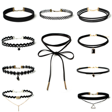 Buy 10 PCS/Set New Gothic Tattoo Leather Choker Necklaces Set Women Hollow Black Lace Velvet Necklace Jewelry Collier Chain for $2.39 in AliExpress store