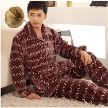 Men's Pajamas Winter Luxury Thick Flannel Warm Men Sleepwear Long-sleeved Mens Pyjamas Sets Lounge Pajama Male(China (Mainland))