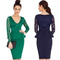 Women Elegant New autumn long sleeved lace stitching cultivate one s morality dress sexy package hip