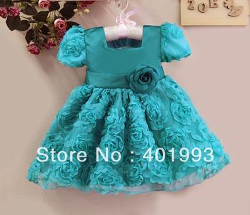 1PC Retail Free Shipping 2015 NEW Fashion Children Girls Flower Dress Blue Children Princess Party Dress Kids Clothing 1-4T