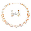 Fashion 18k Gold Plated Jewelry Sets Imitation Pearl Beads Wedding Bridal Costume Necklace Earrings Sets