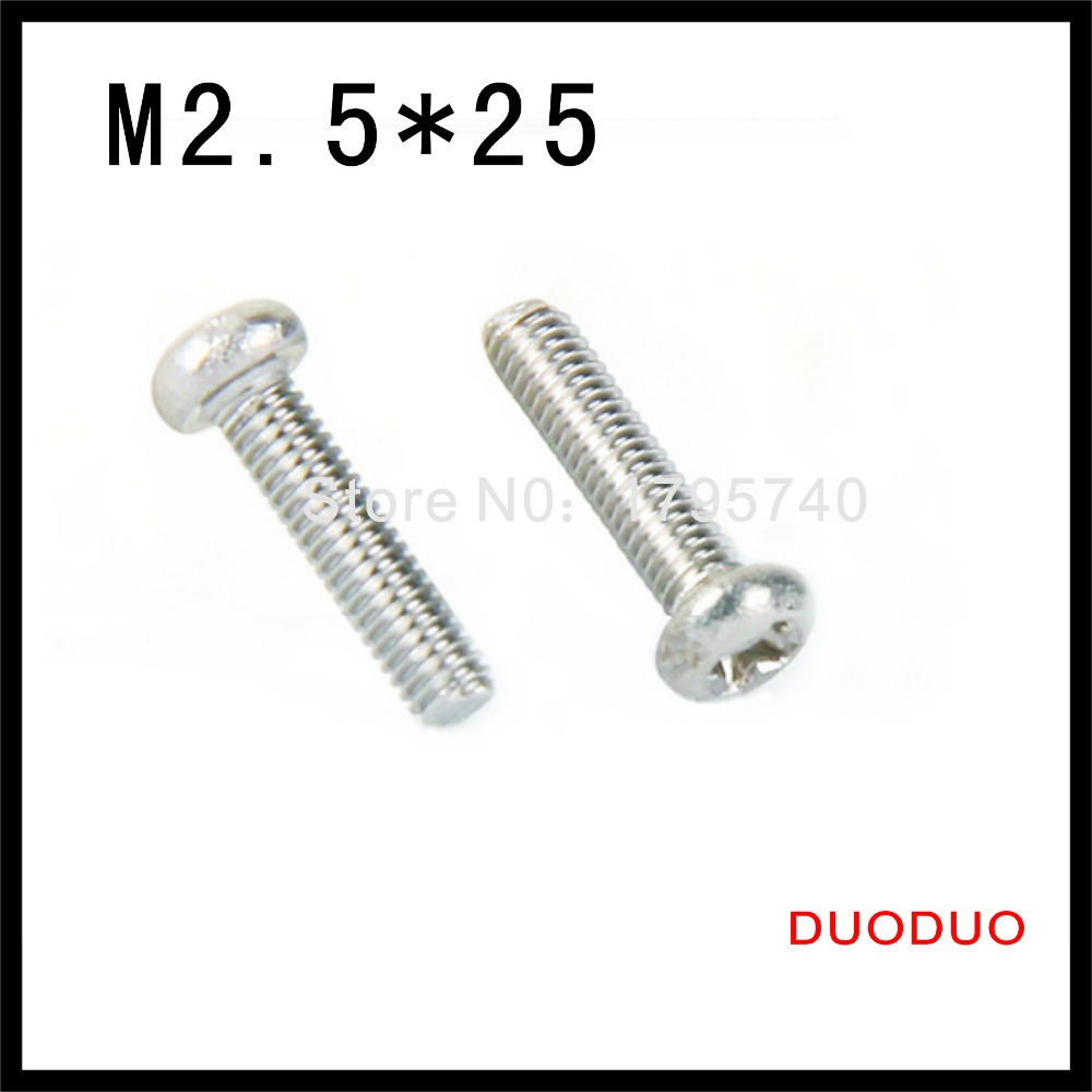 500pcs DIN7985 M2.5 x 25 A2 Stainless Steel Pan Head Phillips Screw Cross Recessed Raised Cheese Head Screws<br><br>Aliexpress
