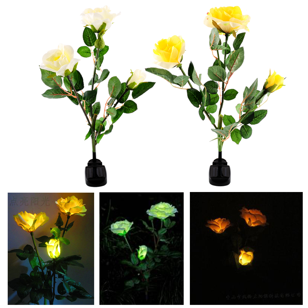 2016 Hot Sale Solar Powered Energy Saving 3 LED Rose Flower Stake Yard Decor Light Lamp Landscape Patio Decoration(China (Mainland))