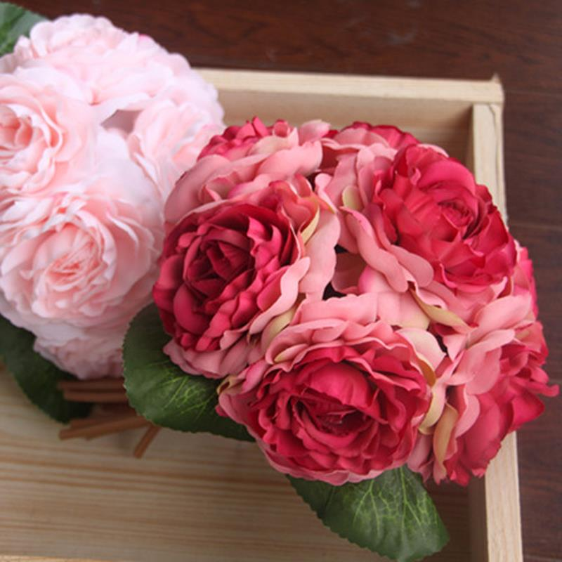 Hand bouquet Silks/satins flowers Photo tool Tea roses Factory direct sales Wedding supplies 5colers Size 20cm