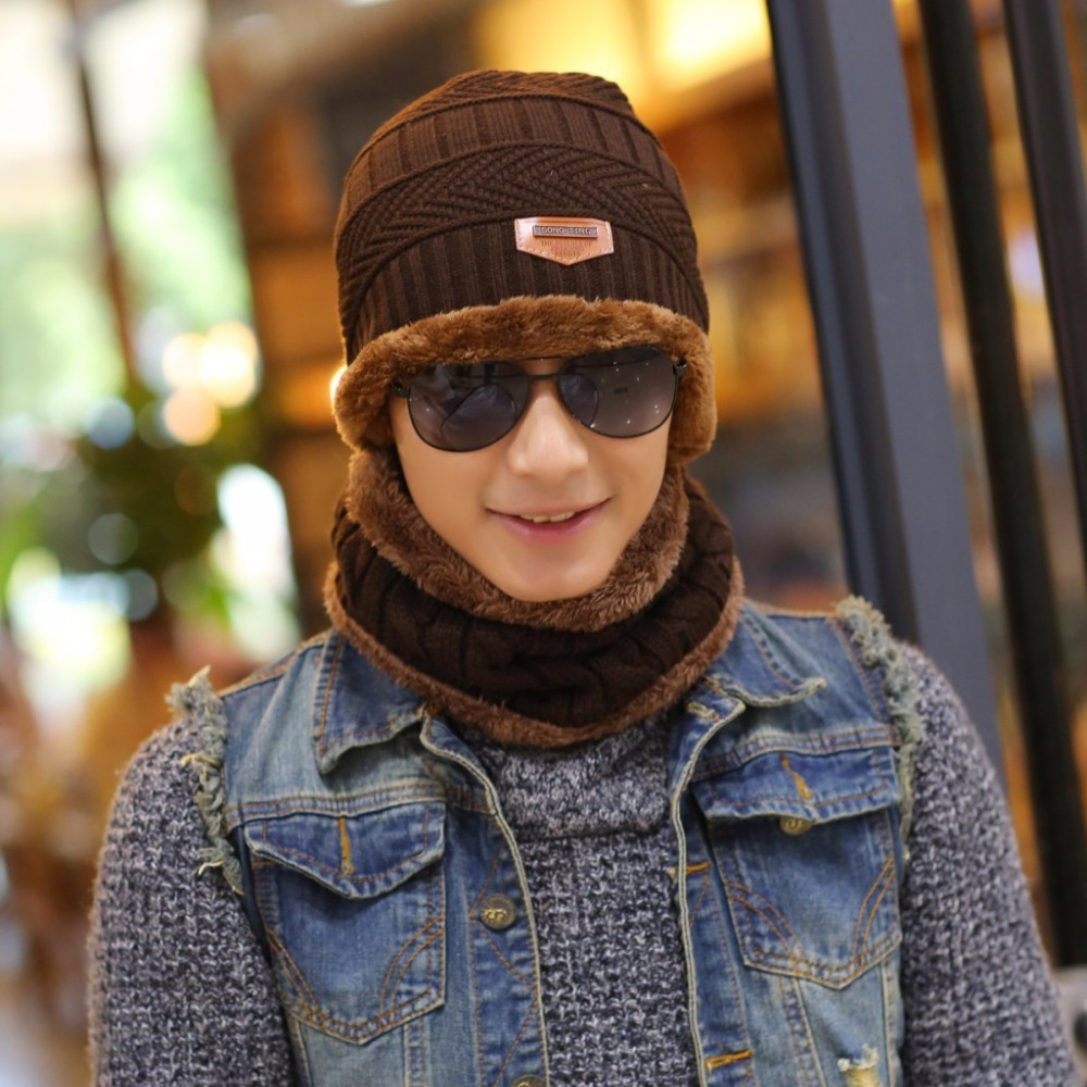 2016 Arrival Beanies With Scarf Knitted Hat Men's Winter Hats For Men Caps Warm Moto Fur Winter Beanie Fleece Knit Bonnet Hat