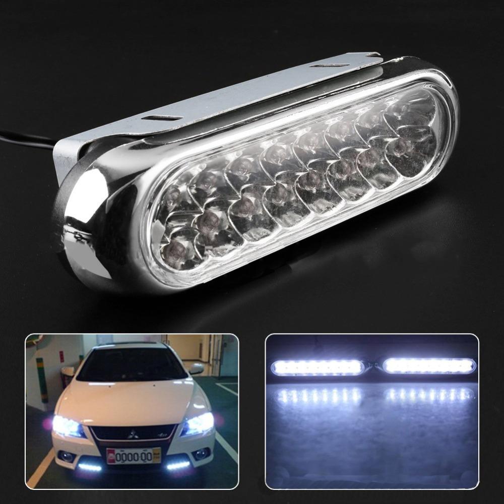 One Pair Car Daytime Running Light LED DRL Universal White 12V Daytime Warning Running Driving DRL F