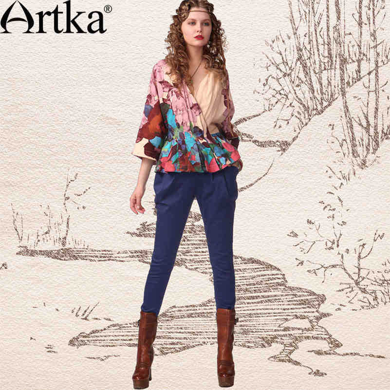 Artka Women's Autumn Paul Gauguin Slim Fit All-Match Wrapped Buttons Pleated Cotton Pencil Casual Pants KA10047C(China (Mainland))