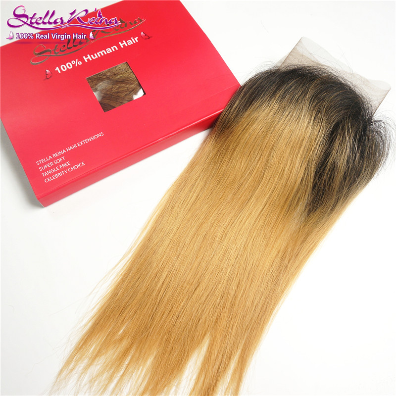 """Brunette Dark Roots Ombre Blonde Lace Frontal 13""""x4"""" Brazilian Straight Lace Front Strawberry/Honey Blonde Human Hair Extension(China (Mainland))"""
