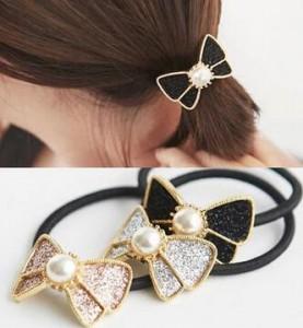 Women Hair Jewelry Wholesale Fashion Pearl Bow Hair Bands Rope Gum Hair Scrunchy 2A105(China (Mainland))