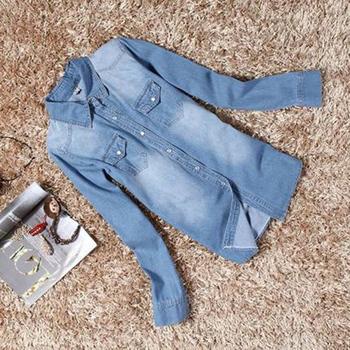 Женщин девушки ретро синие джинсы джинсовые свободного покроя с длинным рукавом широкий топы блузка бесплатная доставка
